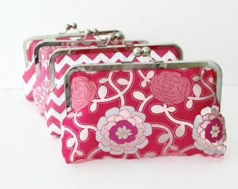 Pink Clutch, Wedding Party Gift, Bridesmaid Wedding Accessory, Choose your own fabric to Customized Cutie Girlie Clutches -