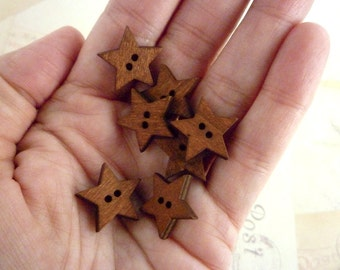 Wooden Buttons, Dark Star Wood Buttons, Pack of 20
