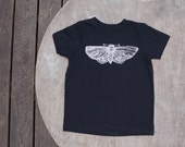 Cyclops Moth T-Shirt Hipster Design on American Apparel Tee in Black for Children
