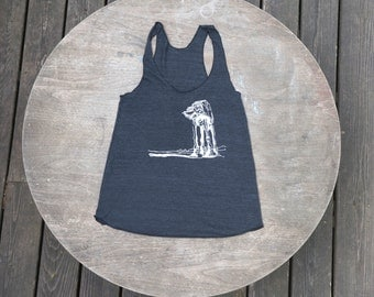 Star Wars Tank Top AtAt Walker American Apparel Heather Black Racer Back Tank Top for Women