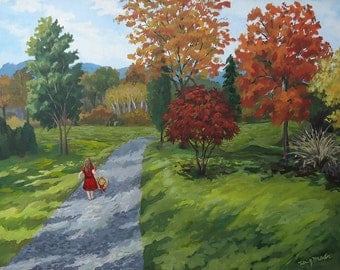Original landscape painting, country road, girl on road, wall art, ready to ship, Autumn Art