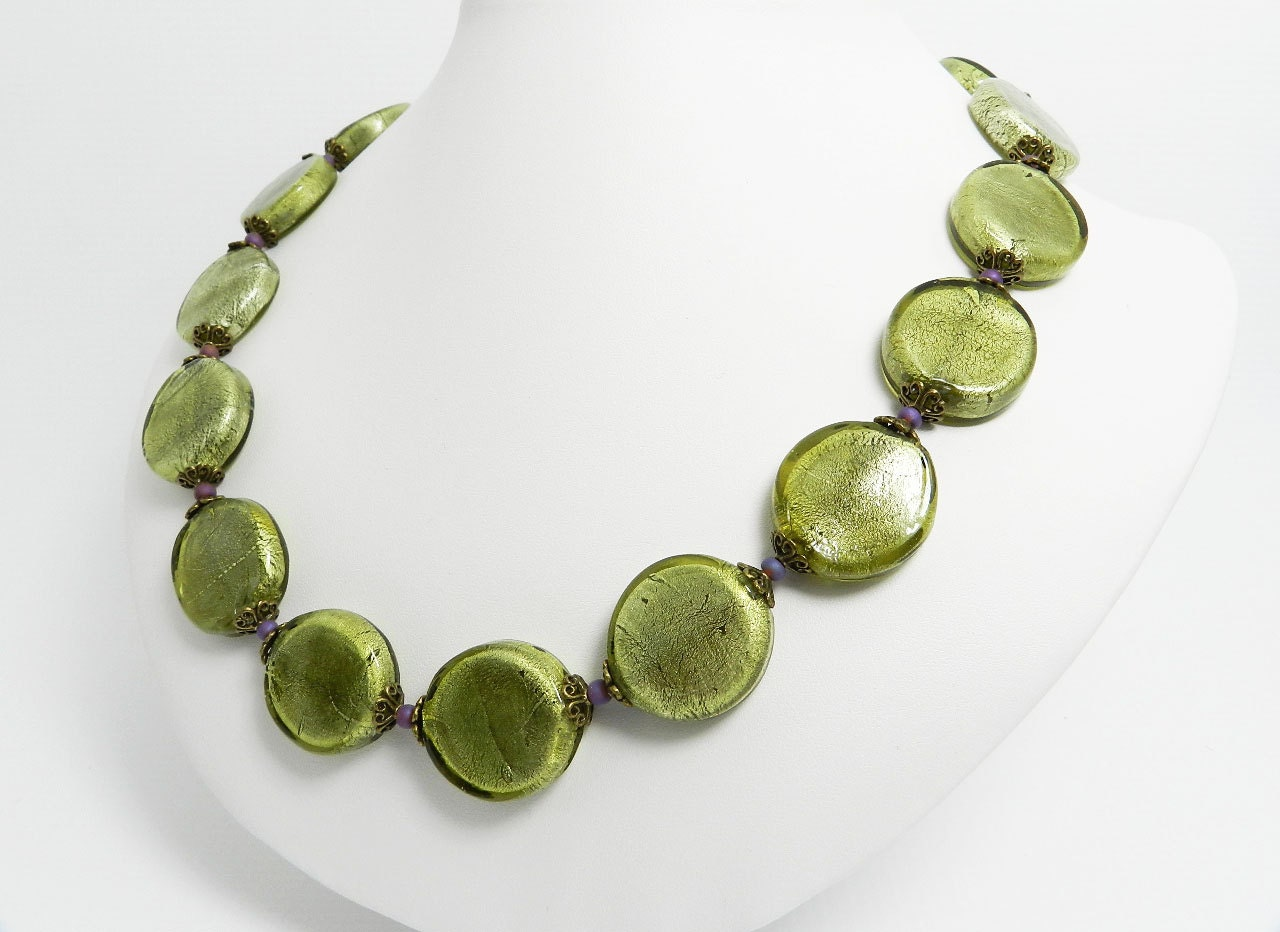 sale olive green necklace modern murano glass foil by