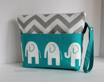 Large Zippered Diaper Clutch / Toddler Bag - Attach to Stroller - Grey Chevron Turquoise Elephants