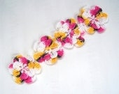 Appliques hand crochet flowers set of 4  hello kitty kat cotton 1.5 inch