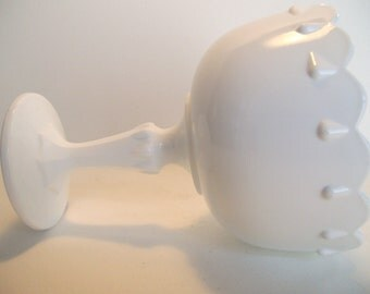 Milk Glass Compote, Indiana Company, Teardrop Design, Candy Dish
