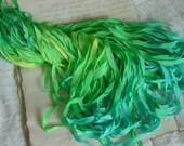 LAST OnE - Hand Dyed Ribbon - TROPIC ISLAND quarter inch wide ribbon, 6 yards