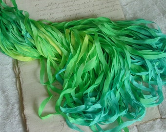 LAST OnE - Hand Dyed Ribbon - TROPIC ISLAND quarter inch wide ribbon, 6 yards