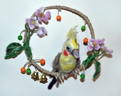 Yellow Cockatiel Felted Wool Sculpture Mobile Christmas Tree Decoration