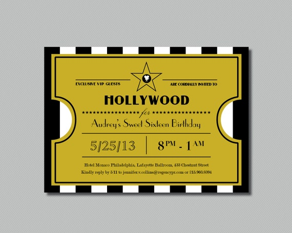 Printable Hollywood Sweet Sixteen Ticket on oscar awards invitation template