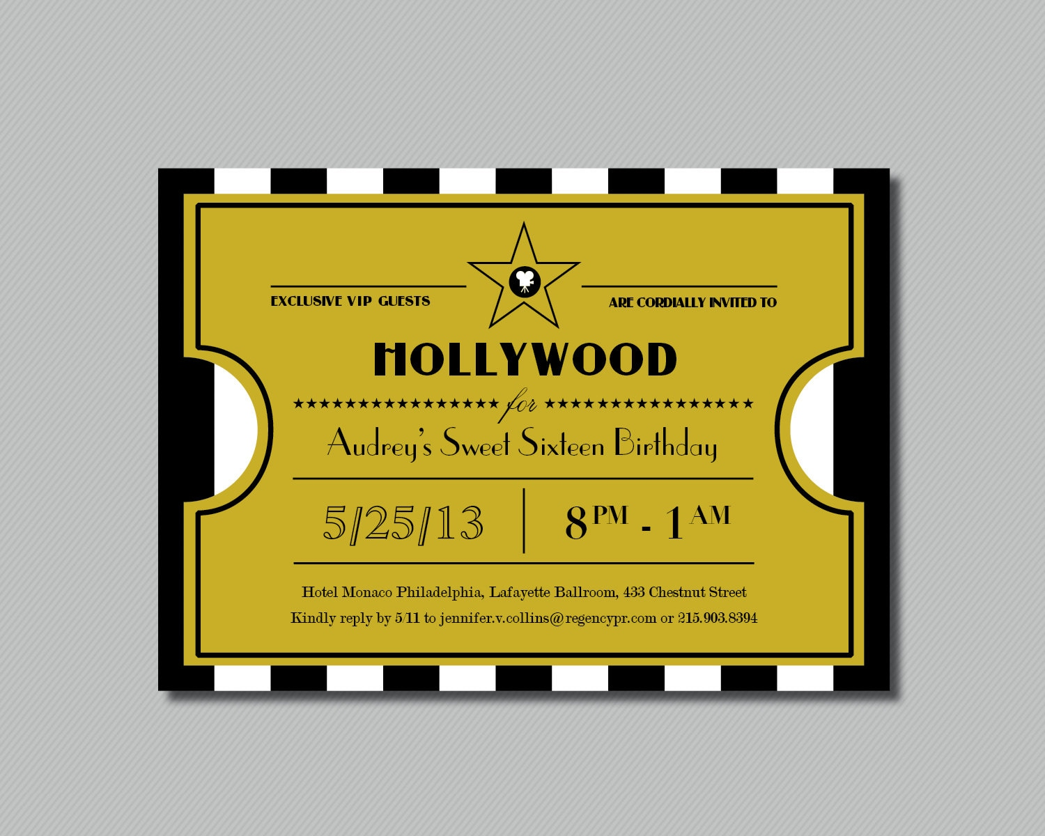 Printable Hollywood Sweet Sixteen Ticket on oscar page designs