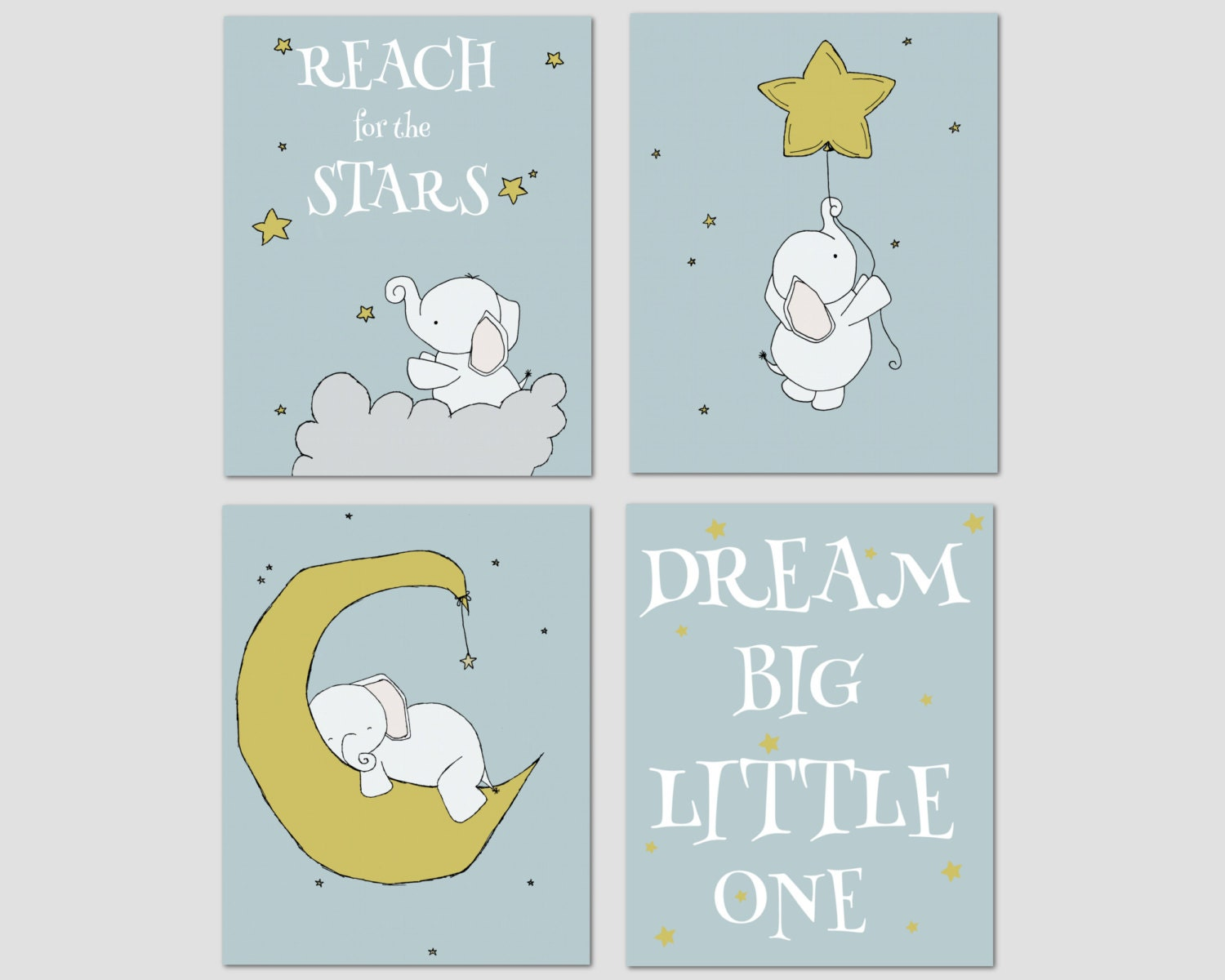 Elephant nursery art dream big little one nursery decor for Elephant mural nursery