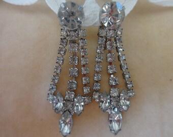 Beautiful Vintage Rhinestone Earrings/Wedding/Bridal