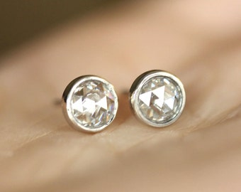 5mm Rose Cut Moissanite 14K Gold Ear Studs (Limited Edition) - Made to Order