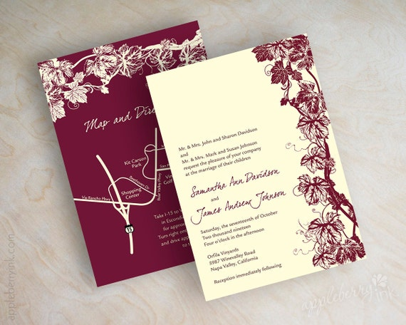 Ivory Wedding Invitation Kits: Items Similar To Vineyard Wedding Invitation, Grape Vine