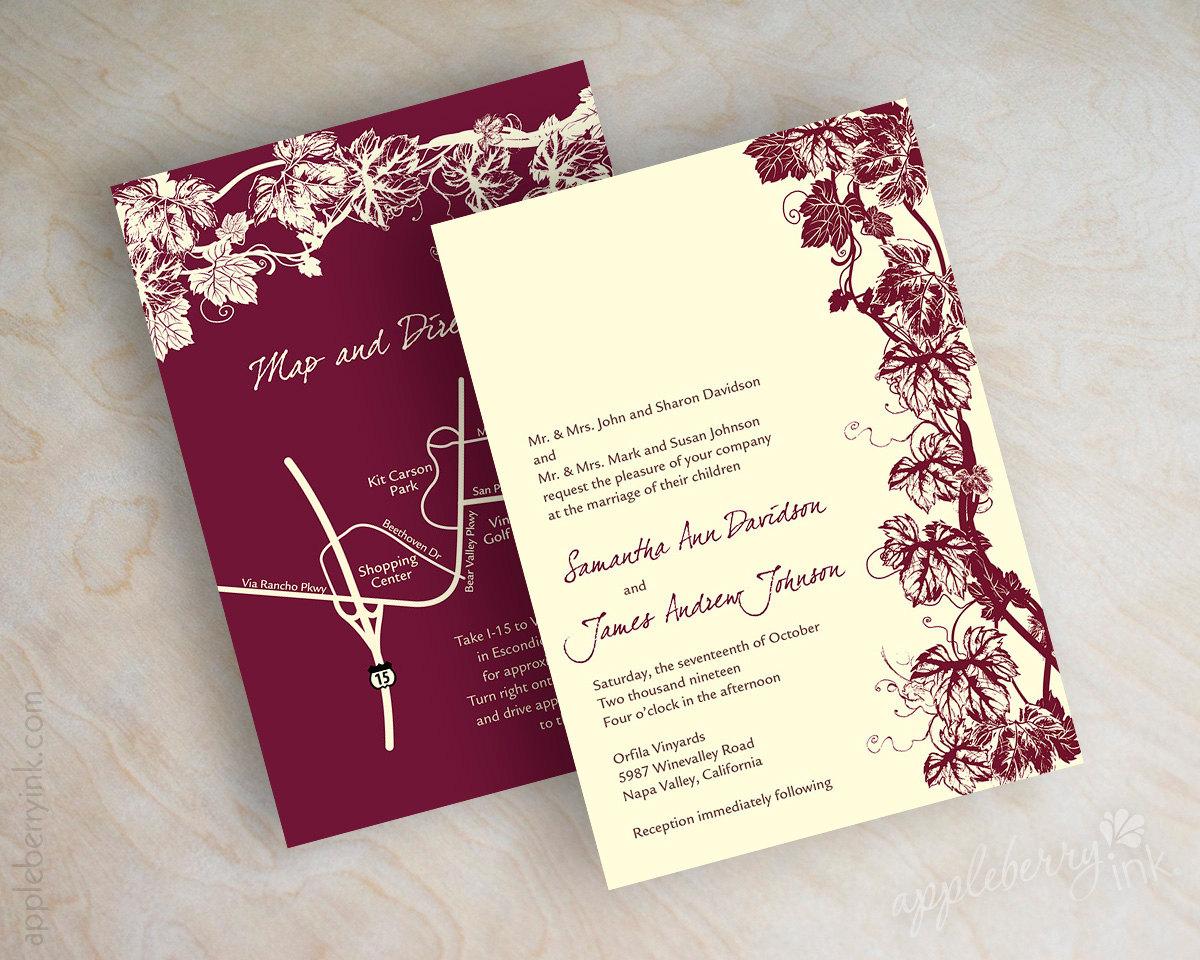 vineyard wedding invitation grape vine invite grapevine