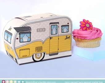 1950s RV Camper Trailer box, Caravan Box, cupcake box, gift card box,gift favor box,Yellow - INSTANT Download D.I.Y. Printable PDF Kit