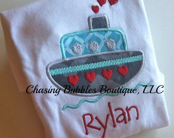 Boys Love Boat Valentine's Day Shirt---FREE Personalization