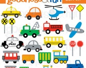 Buy 2, Get 1 FREE - On The Go Transportation Clipart - Digital Transportation / Car / Vehicle Clipart - Instant Download