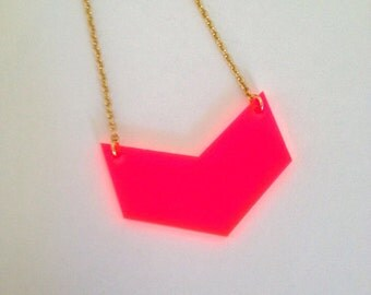 Neon Pink Chevron Necklace, Acrylic Geometric Fluorescent Jewelry