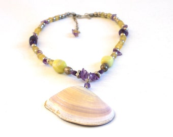 Seashell jewelry, shell necklace, Clam shell, African White Mussel Shell, Amethyst and Yellow Jade Necklace, yellow and purple.