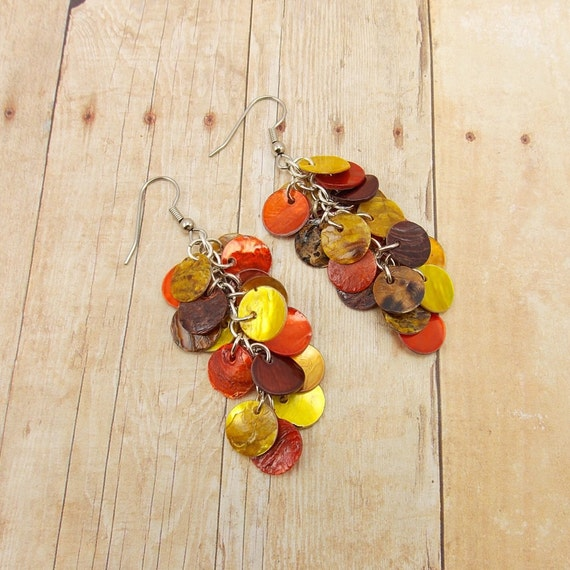 Cluster Earrings - Brown, Orange and Gold - Autumn or Earthy Colors