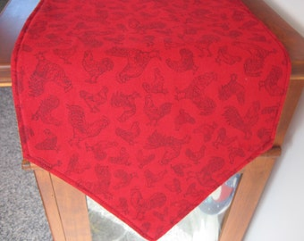 """Red Rooster Table Runner 36"""" or 54"""" Reversible Rooster Table Runner Chicken table runner Red hen table runner Country Farm table runner"""