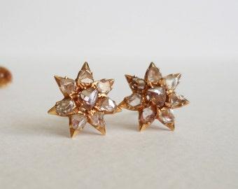 Circa 1880 rose-cut diamonds 18kt rose gold earrings