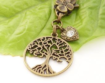 Tree of life crystal heart purse bag charm