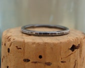 Oxidized Sterling Silver Stack Ring--Hammered--Handcrafted--Sweet & Simple