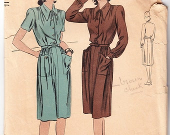 Vintage 1940s Vogue 9850 Sewing Pattern Misses' One-Piece Dress Size 16 Bust 34