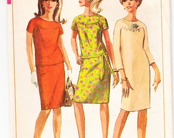 Vintage 1966 Simplicity 6870 Sewing Pattern Misses' One or Two-Piece Dress Size 10 Bust 31