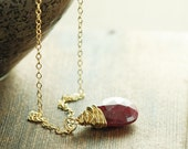 July Birthstone Ruby Necklace 14k Gold Fill, Red Gemstone Wire Wrapped Pendant