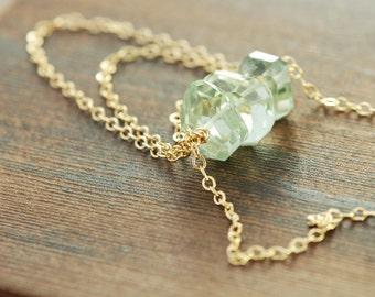Green Amethyst Gold Necklace, Slinky Gemstone Amethyst Necklace, February Birthstone Boho Chic Jewelry