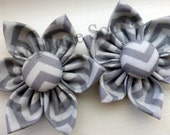 Grey Chevron Handmade Fabric Flowers with Matching Cover Buttons x 2 - Bigger Sizes and WHOLESALE Avail