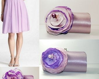 Set of 4 Custom Clutch Handbags | Bridesmaid Gifts | Bridesmaid Clutch | Shades of Lavender and Pink | Personalized Clutch | Bridal Clutch