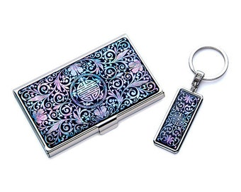 Mother of Pearl Black Business Credit Name Card Holder ID Money Case Wallet and Key Ring Gift Set with Arabesque Design