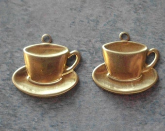 Teacup Charm- Natural Brass- Alice in Wonderland- Vintage- Solid Brass- Cup and Saucer
