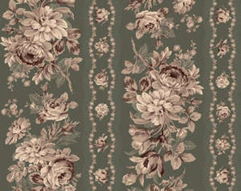 Old Green Floral Stripe Cotton Fabric by Quilt Gate Gentle Flowers Forest GF5930-12C