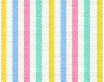 Simple Coordinates Cotton Fabric Quilt Gate  CR8876-415  Small Mulit Stripes on white