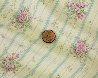 Yuwa Small Floral with Blue Stripes 816921C Cotton Fabric