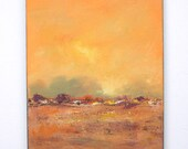 Peaceful landscape painting, misty sunset 8x10 small landscape art with orange, brown tones