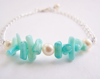 Freshwater Pearls & Real Coral Bracelet - Aruba - Affordable gifts - bridesmaid sets- beach weddings - teal - aqua and white
