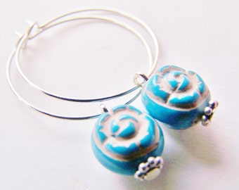 silver hoops with taupe washed blue roses - free shipping WAI - holiday - Fall - affordable gifts - high quality inexpensive earrings
