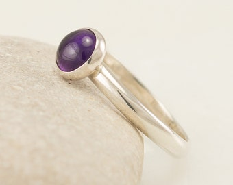 Amethyst Ring- Sterling Silver Ring- Purple Stone Ring- February Birthstone Ring- Handmade Silver Jewelry Amethyst