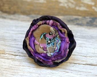 Fabric Flower Pin in Purple, Handmade Large Fabric Flower Brooch