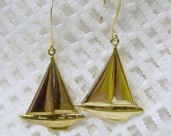 Gold Sailboat Earrings - Sailor - Sailing - Nautical Jewelry