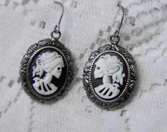 Skeleton Earrings -Lady Goth - Bella Morte - Lady Death - Lady Goth Dangle Earrings