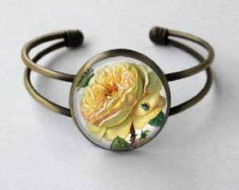 Yellow Rose Bracelet - Cuff - Rose cuff bracelet - Yellow Rose of Texas - Flower - Rose Garden - Heirloom roses - round antiqued bronze cuff