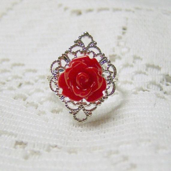 Red Rose Ring - Elegant Vintage Style - Petite Rose Adjustable Ring
