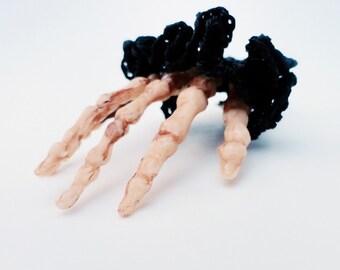 Severed Hand Pin, Skeleton Tie Tack, Goth Jewelry, Fingerless Glove, Black Lace, Off White Skeleton Hand, Black Fishnet